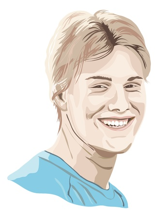 smiling young man - portrait of a young man, teenager Vector