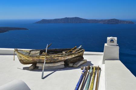 santorini island: Boat in Santorini Island terrace, another view Stock Photo