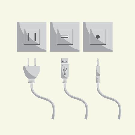 adentro y afuera: enchufe de sonido USB en la ilustraci�n a cabo