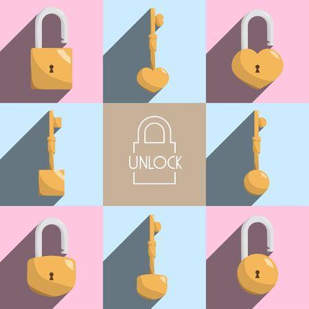 old padlock: unlock lock master key illustration Illustration