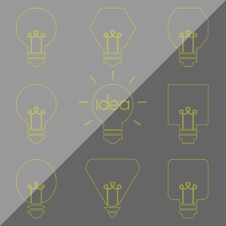 lamp outline: yellow grey idea lamp light bulb outline Illustration