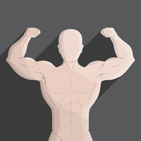 male muscle gym grey illustration