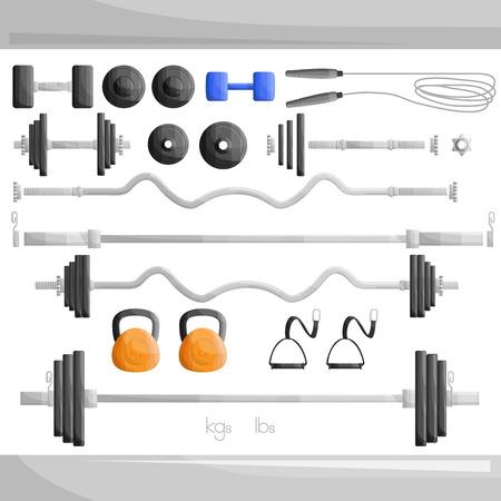 ジム重量運動エクササイズ セットの図  イラスト・ベクター素材