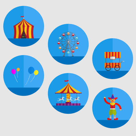 carnival tent, balloon,cart,clown,carousel and Ferris wheel in cartoon illustration. Фото со стока - 61597553