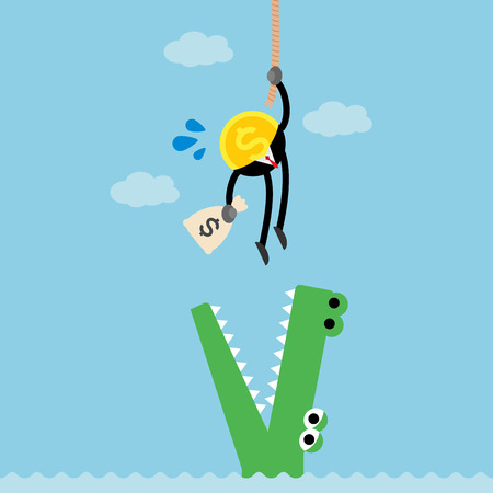 escaping: coin business man catching money ,climbing rope and escaping from crocodile. Illustration