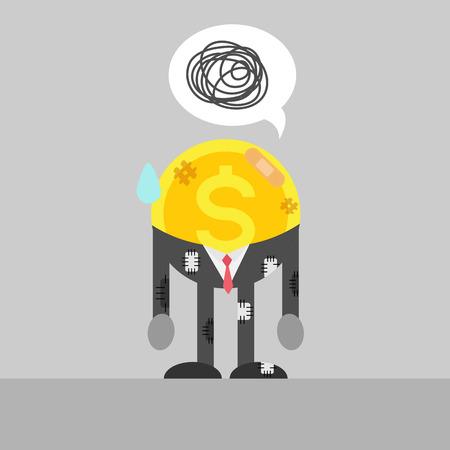injured: poor coin business man is injured. Illustration