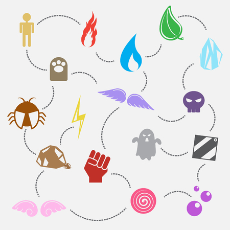 poison symbol: seventeen element use in game or sign and symbol. fire, water, normal, grass, electric, ice, fighting, poison, flying, psychic, fairy, dark, bug, rock, ghost and steel