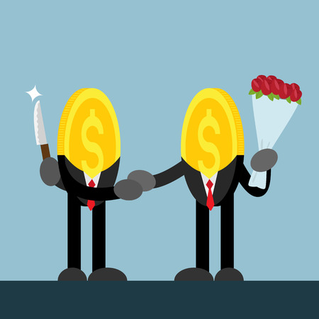 one of a kind: coin money businessman shake hand. Bad one hide knife. Kind one give bouquet of flowers.