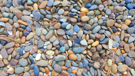many colored: many colored round stone and dry grass on ground Stock Photo