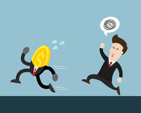 run away: coin money run away from businessman who try to catch him. businessman is angry and want coin.