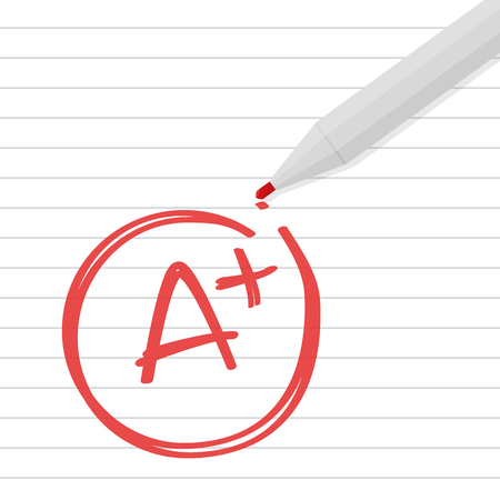 A plus grade written on line paper with red pen. Vector Illustration