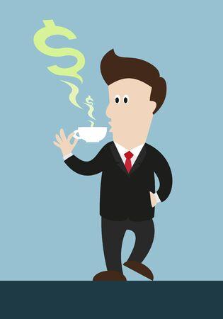 beber café o té empresario. vapor de agua verde en el símbolo de dinero com forma de taza. mira el enfriamiento.