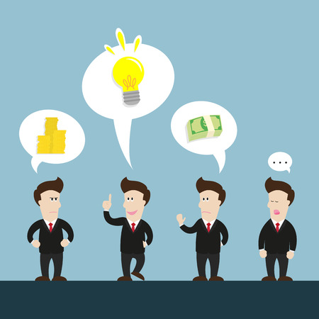 like it: businessmans talk about new great idea. but some dont like it because of money. Illustration
