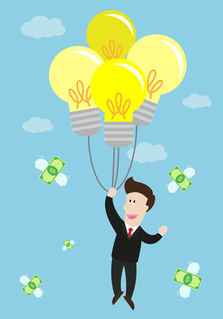 flying float: businessman float in the air by idea light bulb balloon. many flying money bill around him. success in business.
