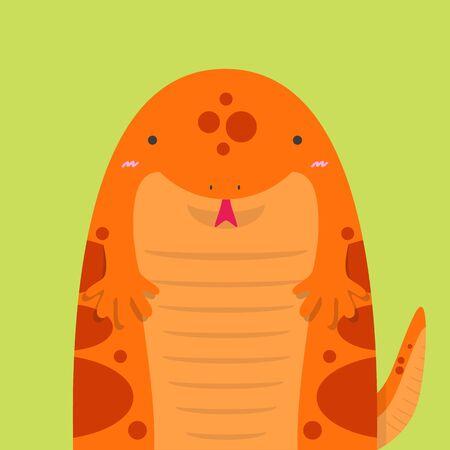 salamandre: mignon big fat salamandre rouge sur fond vert clair Illustration