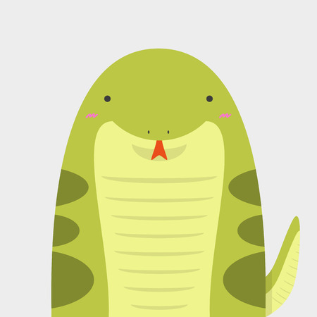 cute big fat snake on light gray background Illustration