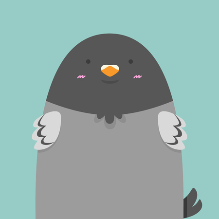 messege: cute big fat pigeon bird on light green background Illustration