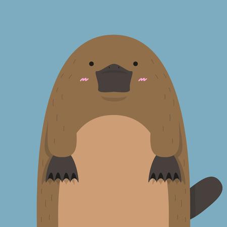 platypus: cute big fat platypus on dark blue backdrop