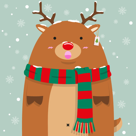cute fat big reindeer Rudolf wear green and read pattern scarf on falling snow flake blue backdrop