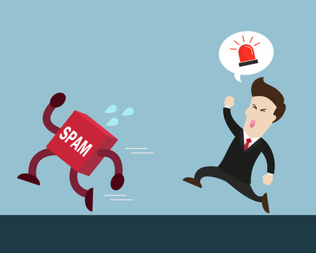 run away: businessman is angry and try to catch spam who run away Illustration
