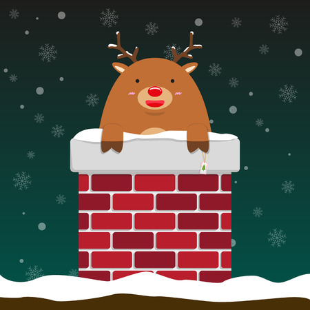 cute fat big reindeer come out of chimney on falling snow flake green background