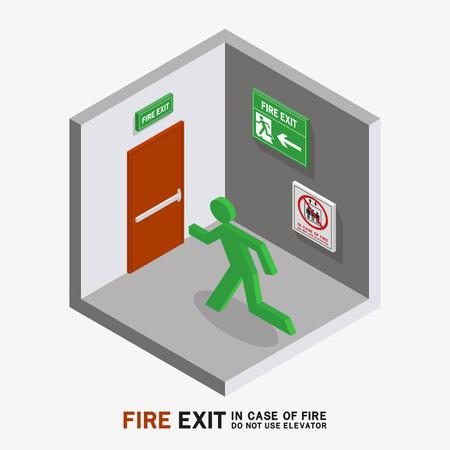 no correr: Hombre signo dirigido al fuego salida en caso de incendio no utilizar elevador isométrica
