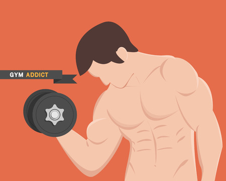 lbs: gym addict fitness muscular man lifting weight dumbbell Illustration