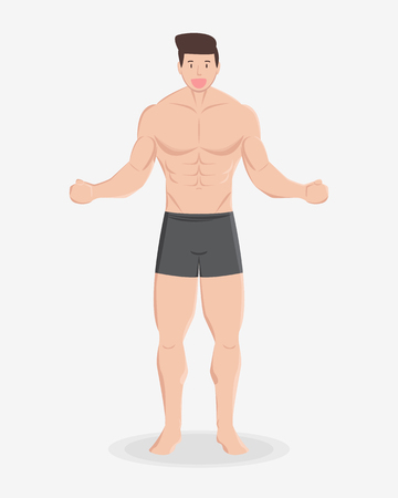 fitness muscular healthy man stand and smile on light background