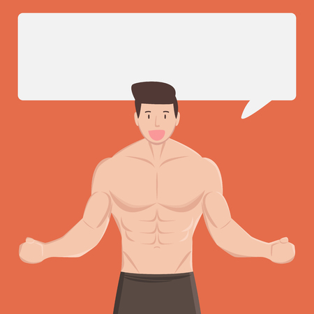 fitness muscular healthy man tell and explain something in dialog box on orange background