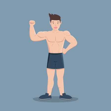 gym fitness muscular cartoon man on blue background