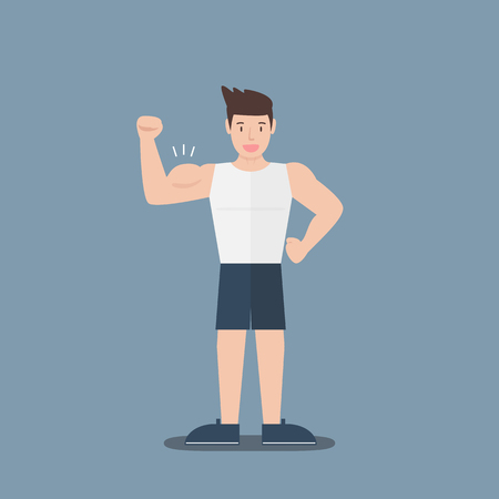 gym fitness muscular cartoon man show biceps flat design on blue background