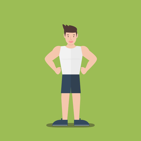 gym fitness muscular cartoon man standing flat design on green background Illustration