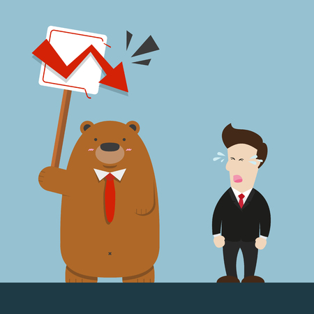 businessman and cute big brown bear in stock market red graph going down arrow