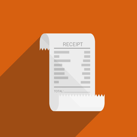 invoices: receipt bill icon flat design on orange background