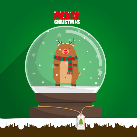 Merry Christmas reindeer in snow globe on green background. Snow flake falling inside.