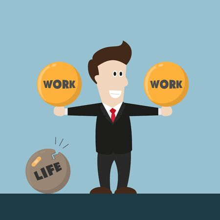 not working: businessman life is not balance. he concentrate on working but not on life.