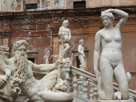 Details of the white marble sculptures of the fountain made by the sculptor Francesco Camilliani (1530-1576).