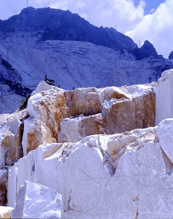 In the foreground excavation of marble from the quarries of Carrara Fantiscritti