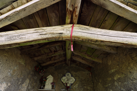 The roof with wooden beams. 版權商用圖片