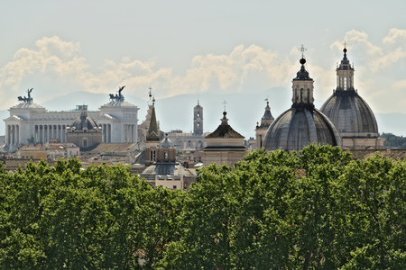 View from above over Rome. Victorian (National Monument to Victor Emmanuel II)