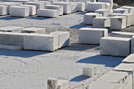 The blocks of white Carrara marble, after being extracted from the quarry, are deposited in outdoor squares, not far from the extraction sites.
