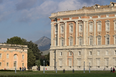 Main external  facade of the Royal Palace of Caserta (Italy). Designed by the architect Luigi Vanvitelli from 1751