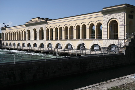 Ancient plant for the production of hydroelectric energy in Lombardy 스톡 콘텐츠