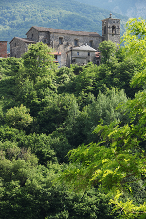 The village immersed in the vegetation of the Apuan Alps.