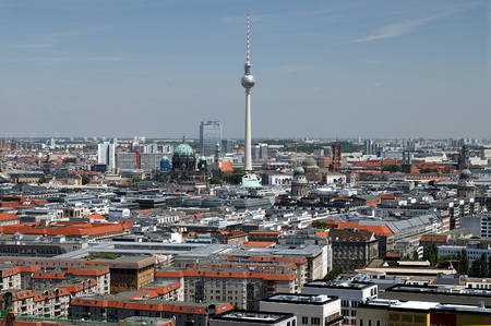 Berlin. Panoramic view from the top of a Potsdamer Platz tower. In the background you can see the television tower