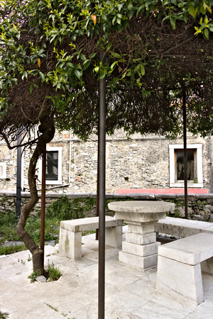 Colonnata, Carrara, Tuscany, Italy. In the church square there is an original pergola covered by a specimen of Trachelospermum jasminoides. Under the pergola of the benches and a table in white Carrara marble. Stockfoto