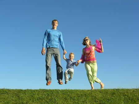 fly happy family on blue sky 2 Stock Photo - 259594