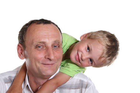 boy with grandfather Stock Photo