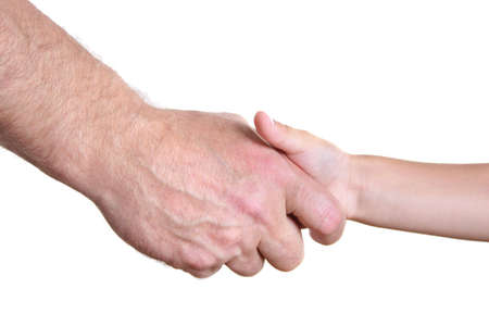 infant hand: grandfather and boy hands Stock Photo