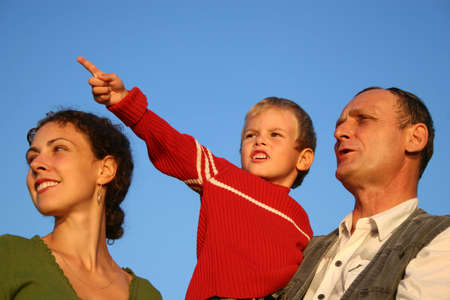 intergenerational: boy, mother and grandfather Stock Photo